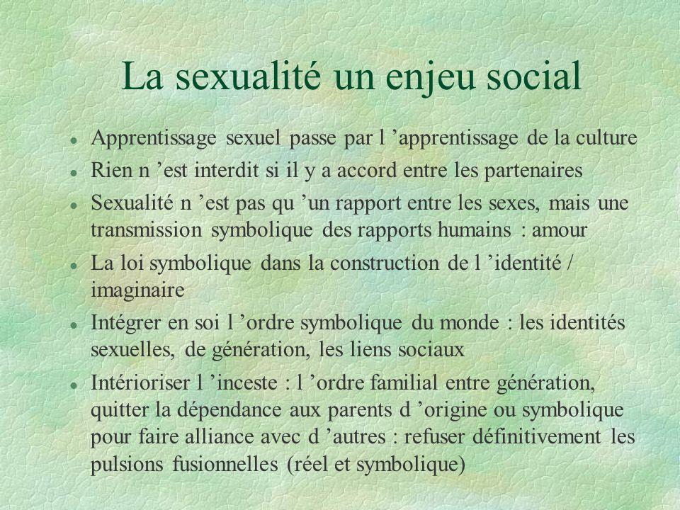 La sexualité un enjeu social l Apprentissage sexuel passe par l apprentissage de la culture l Rien n est interdit si il y a accord entre les partenair