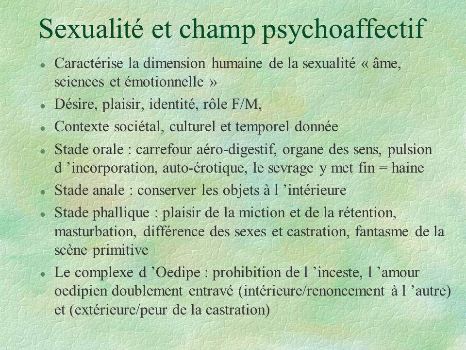 Sexualité et champ psychoaffectif l Caractérise la dimension humaine de la sexualité « âme, sciences et émotionnelle » l Désire, plaisir, identité, rô