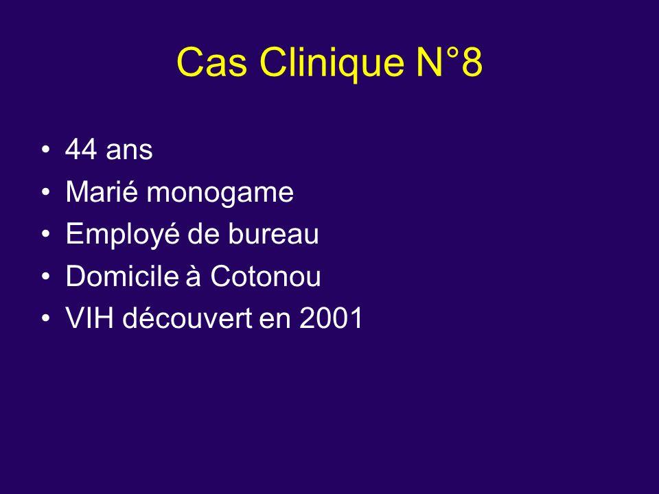 44 ans Marié monogame Employé de bureau Domicile à Cotonou VIH découvert en 2001 Cas Clinique N°8