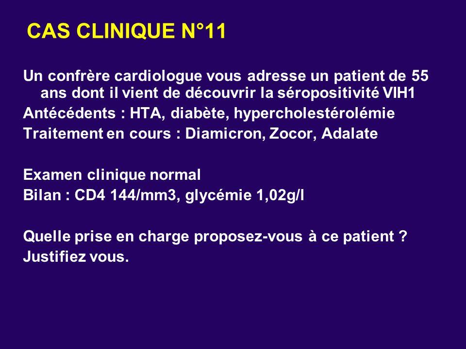 CAS CLINIQUE N°11 Un confrère cardiologue vous adresse un patient de 55 ans dont il vient de découvrir la séropositivité VIH1 Antécédents : HTA, diabè