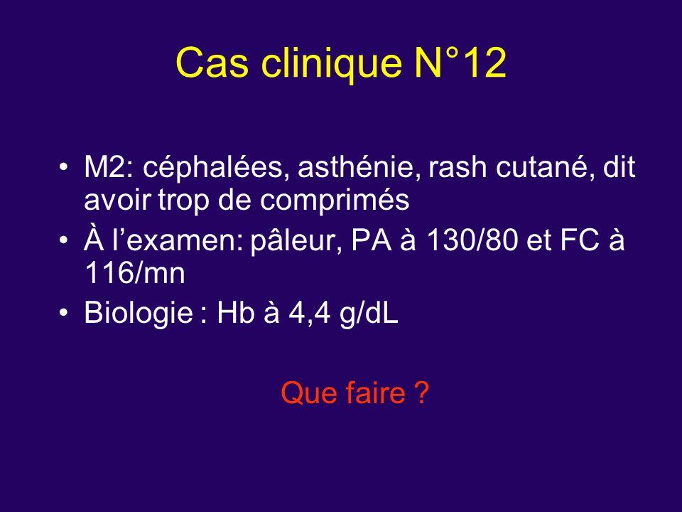 M2: céphalées, asthénie, rash cutané, dit avoir trop de comprimés À lexamen: pâleur, PA à 130/80 et FC à 116/mn Biologie : Hb à 4,4 g/dL Que faire ? C