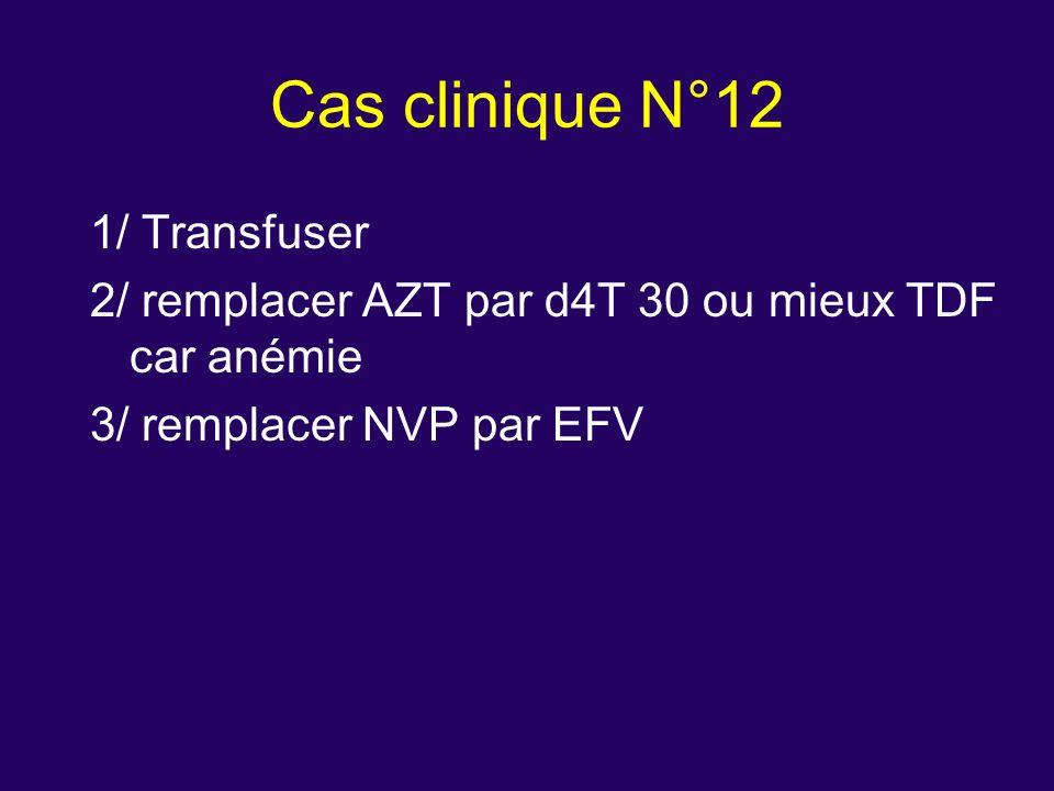 1/ Transfuser 2/ remplacer AZT par d4T 30 ou mieux TDF car anémie 3/ remplacer NVP par EFV Cas clinique N°12