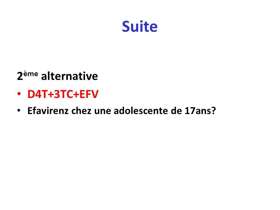 Suite 2 ème alternative D4T+3TC+EFV Efavirenz chez une adolescente de 17ans?