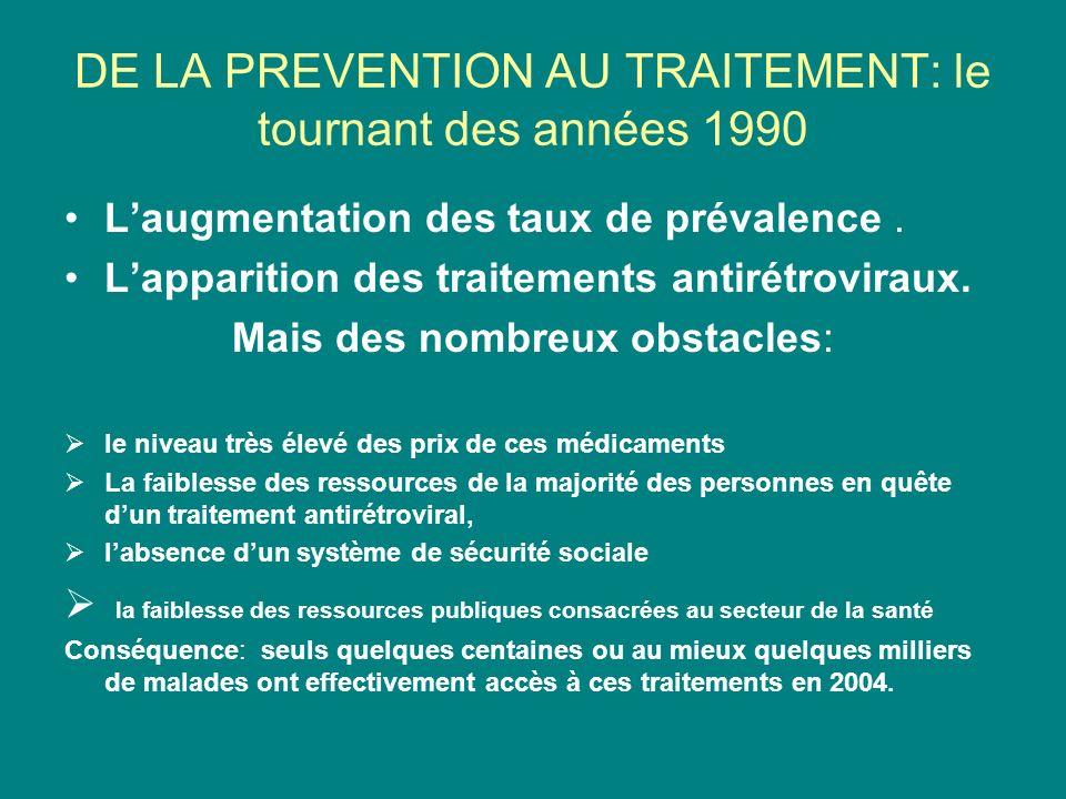 DE LA PREVENTION AU TRAITEMENT: le tournant des années 1990 Laugmentation des taux de prévalence.
