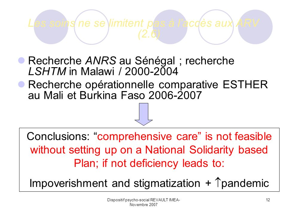 Dispositif psycho-social REVAULT IMEA- Novembre 2007 12 Les soins ne se limitent pas à laccès aux ARV (2.6) Recherche ANRS au Sénégal ; recherche LSHTM in Malawi / 2000-2004 Recherche opérationnelle comparative ESTHER au Mali et Burkina Faso 2006-2007 Conclusions: comprehensive care is not feasible without setting up on a National Solidarity based Plan; if not deficiency leads to: Impoverishment and stigmatization + pandemic