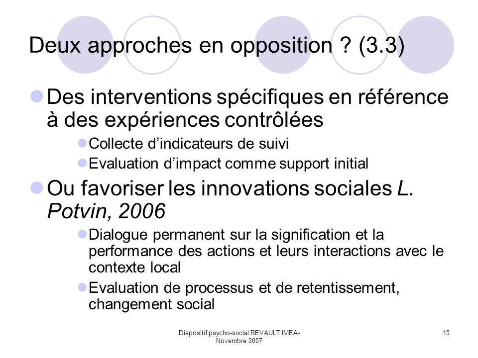 Dispositif psycho-social REVAULT IMEA- Novembre 2007 15 Deux approches en opposition ? (3.3) Des interventions spécifiques en référence à des expérien