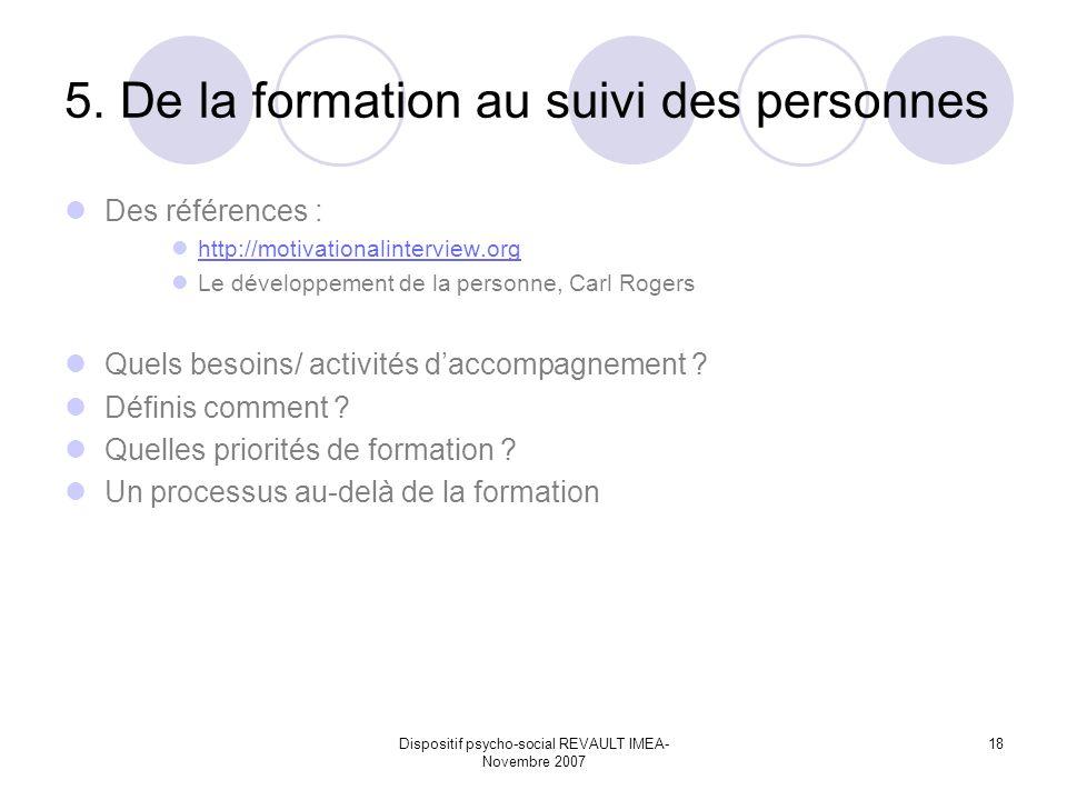 Dispositif psycho-social REVAULT IMEA- Novembre 2007 18 5. De la formation au suivi des personnes Des références : http://motivationalinterview.org Le
