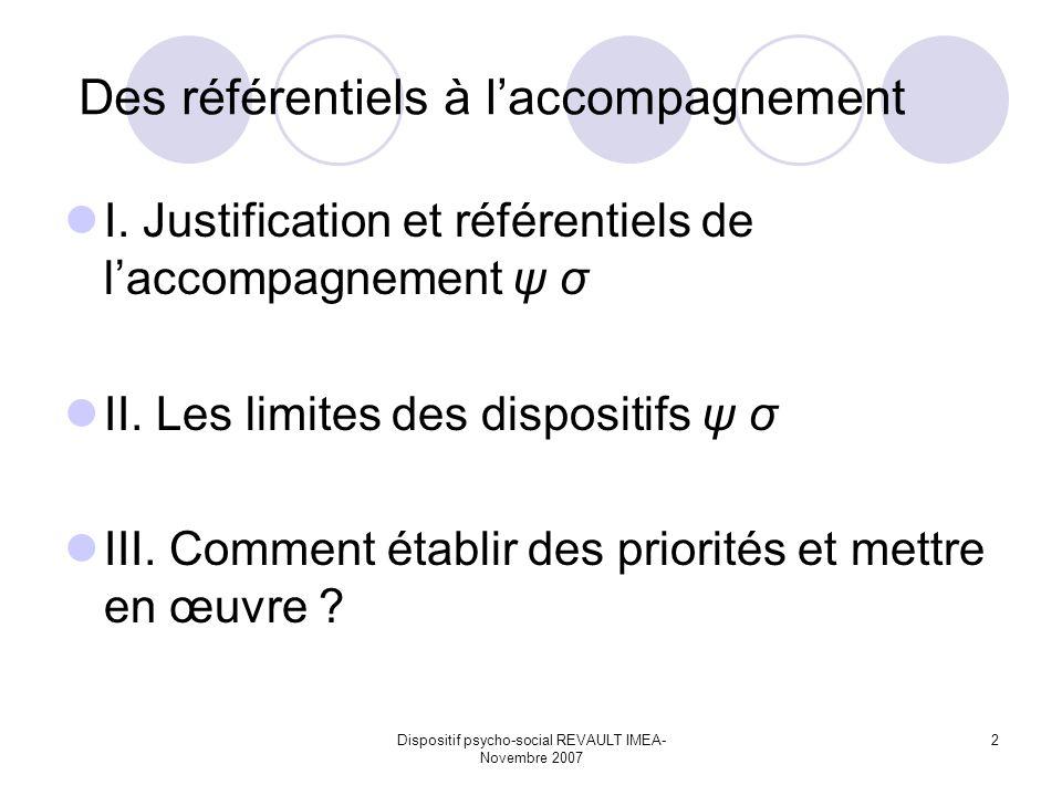 Dispositif psycho-social REVAULT IMEA- Novembre 2007 2 Des référentiels à laccompagnement I. Justification et référentiels de laccompagnement ψ σ II.