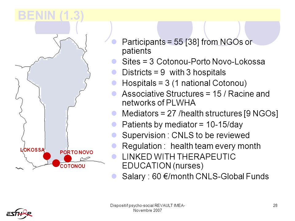 Dispositif psycho-social REVAULT IMEA- Novembre 2007 28 BENIN (1.3) Participants = 55 [38] from NGOs or patients Sites = 3 Cotonou-Porto Novo-Lokossa Districts = 9 with 3 hospitals Hospitals = 3 (1 national Cotonou) Associative Structures = 15 / Racine and networks of PLWHA Mediators = 27 /health structures [9 NGOs] Patients by mediator = 10-15/day Supervision : CNLS to be reviewed Regulation : health team every month LINKED WITH THERAPEUTIC EDUCATION (nurses) Salary : 60 /month CNLS-Global Funds LOKOSSA PORTO NOVO COTONOU