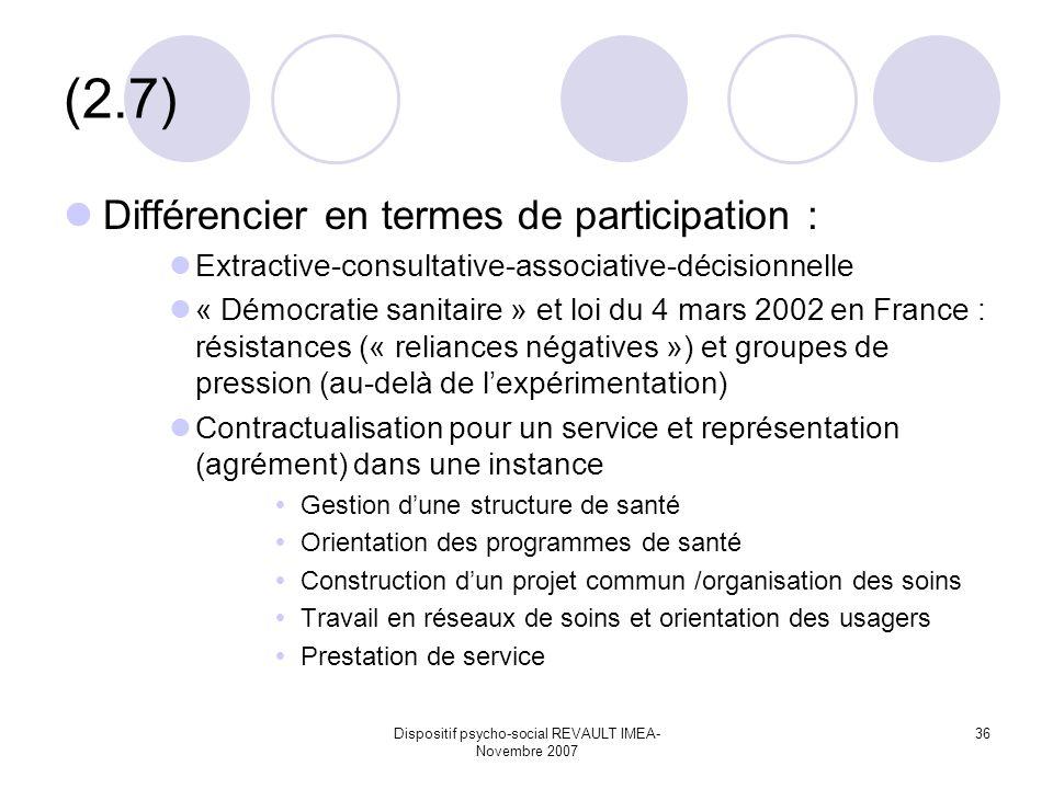 Dispositif psycho-social REVAULT IMEA- Novembre 2007 36 (2.7) Différencier en termes de participation : Extractive-consultative-associative-décisionnelle « Démocratie sanitaire » et loi du 4 mars 2002 en France : résistances (« reliances négatives ») et groupes de pression (au-delà de lexpérimentation) Contractualisation pour un service et représentation (agrément) dans une instance Gestion dune structure de santé Orientation des programmes de santé Construction dun projet commun /organisation des soins Travail en réseaux de soins et orientation des usagers Prestation de service