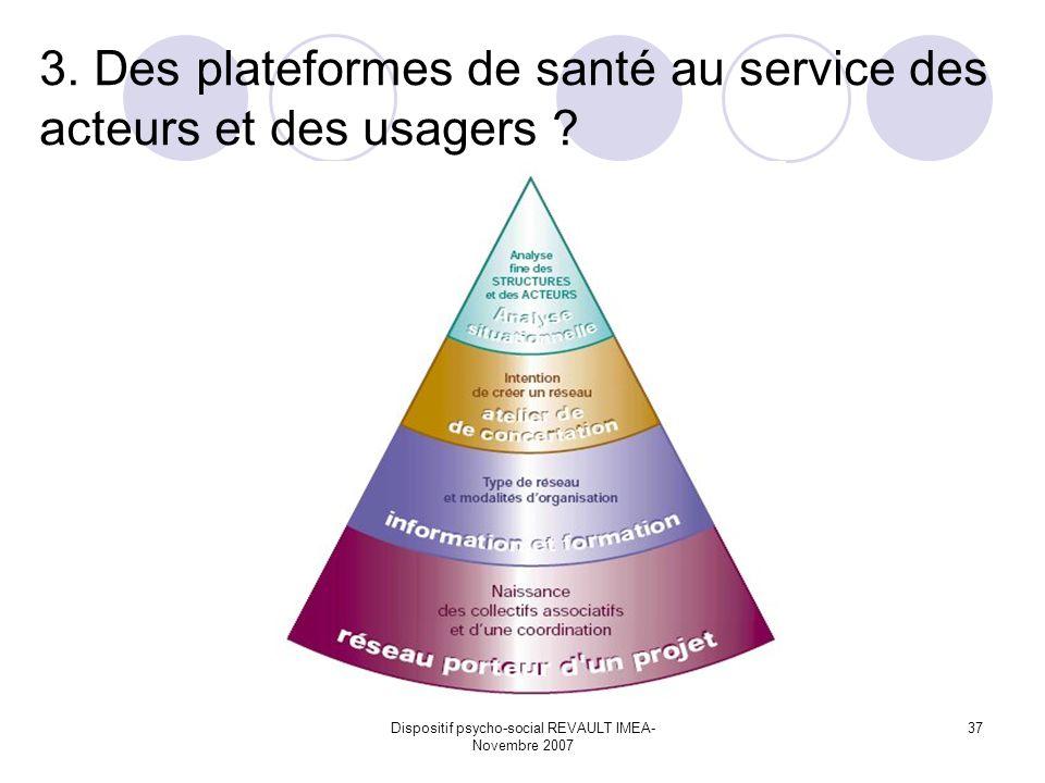 Dispositif psycho-social REVAULT IMEA- Novembre 2007 37 3. Des plateformes de santé au service des acteurs et des usagers ?