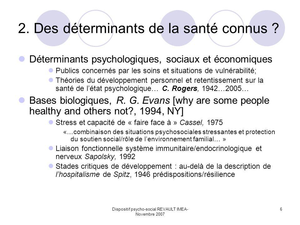 Dispositif psycho-social REVAULT IMEA- Novembre 2007 6 2. Des déterminants de la santé connus ? Déterminants psychologiques, sociaux et économiques Pu