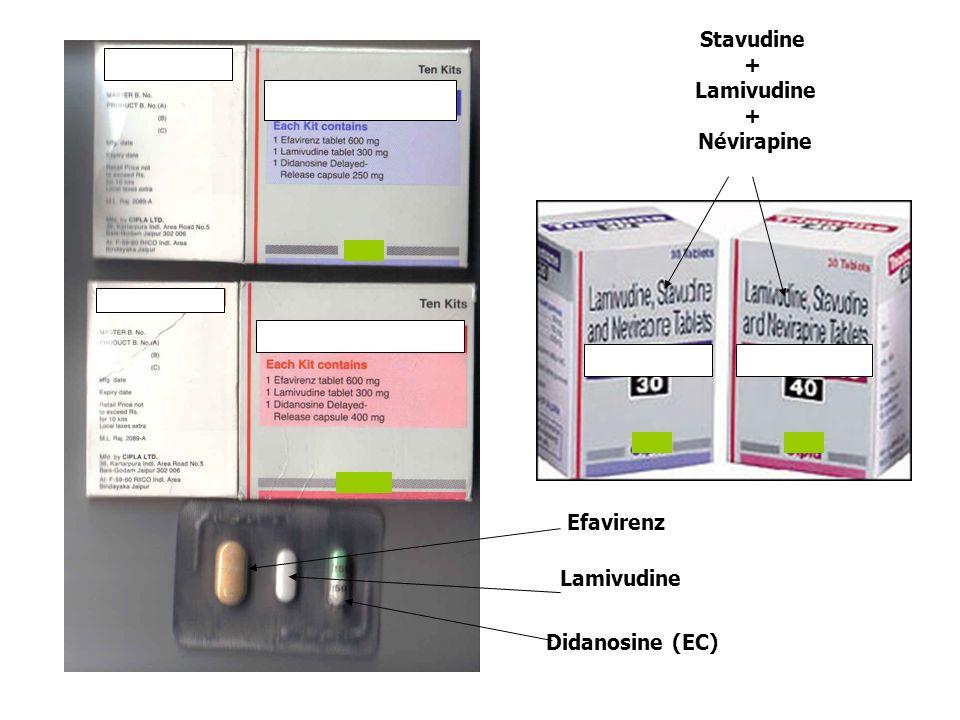 Efavirenz Lamivudine Didanosine (EC) Stavudine + Lamivudine + Névirapine