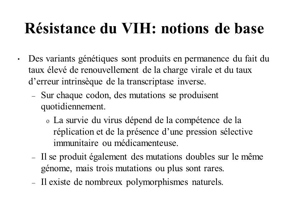 Résistance du VIH: notions de base Des variants génétiques sont produits en permanence du fait du taux élevé de renouvellement de la charge virale et