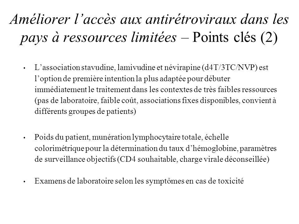 Critères dadmissibilité au traitement antirétroviral Infection VIH confirmée au laboratoire Evaluation clinique de linfection et de la maladie VIH (système OMS de classification des stades) Numération des CD4 Numération lymphocytaire totale comme autre indication de traitement (maladie VIH symptomatique de stade II) Lestimation de la charge virale nest pas considérée comme indispensable pour commencer le traitement
