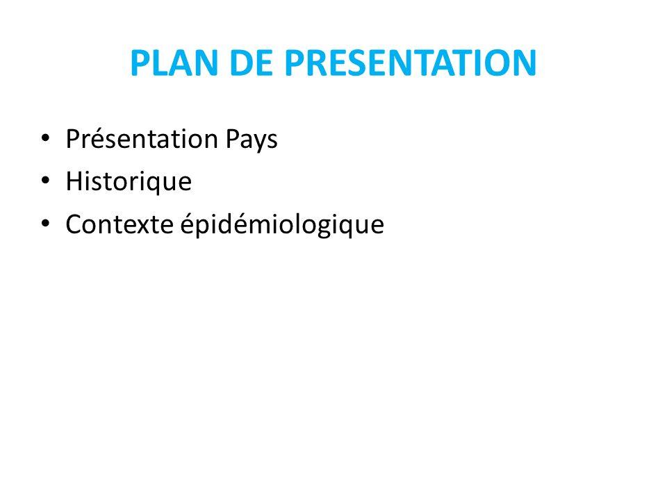 PLAN DE PRESENTATION Présentation Pays Historique Contexte épidémiologique