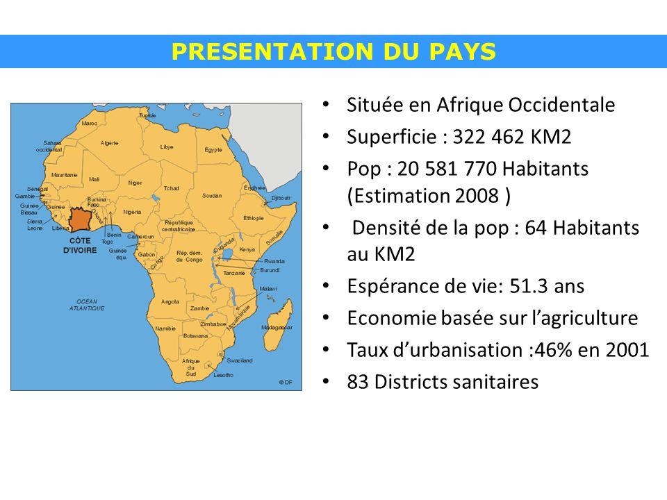 PRESENTATION DU PAYS Située en Afrique Occidentale Superficie : 322 462 KM2 Pop : 20 581 770 Habitants (Estimation 2008 ) Densité de la pop : 64 Habitants au KM2 Espérance de vie: 51.3 ans Economie basée sur lagriculture Taux durbanisation :46% en 2001 83 Districts sanitaires