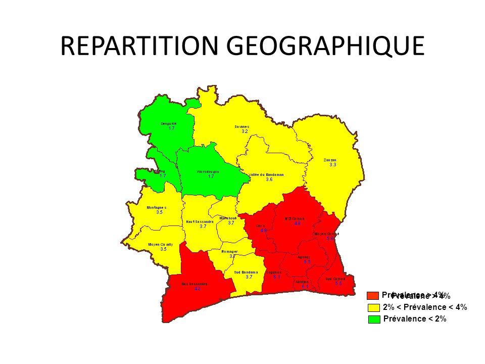 REPARTITION GEOGRAPHIQUE Prévalene > 4% 2% < Prévalence < 4% Prévalence > 4% Prévalence < 2%