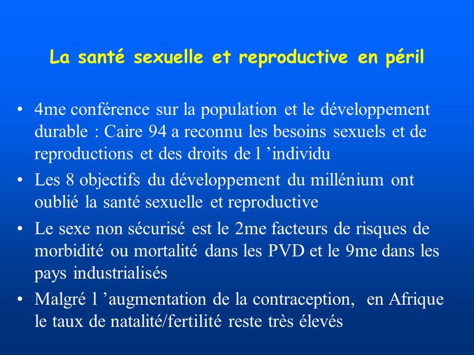 La santé sexuelle et reproductive en péril 4me conférence sur la population et le développement durable : Caire 94 a reconnu les besoins sexuels et de reproductions et des droits de l individu Les 8 objectifs du développement du millénium ont oublié la santé sexuelle et reproductive Le sexe non sécurisé est le 2me facteurs de risques de morbidité ou mortalité dans les PVD et le 9me dans les pays industrialisés Malgré l augmentation de la contraception, en Afrique le taux de natalité/fertilité reste très élevés
