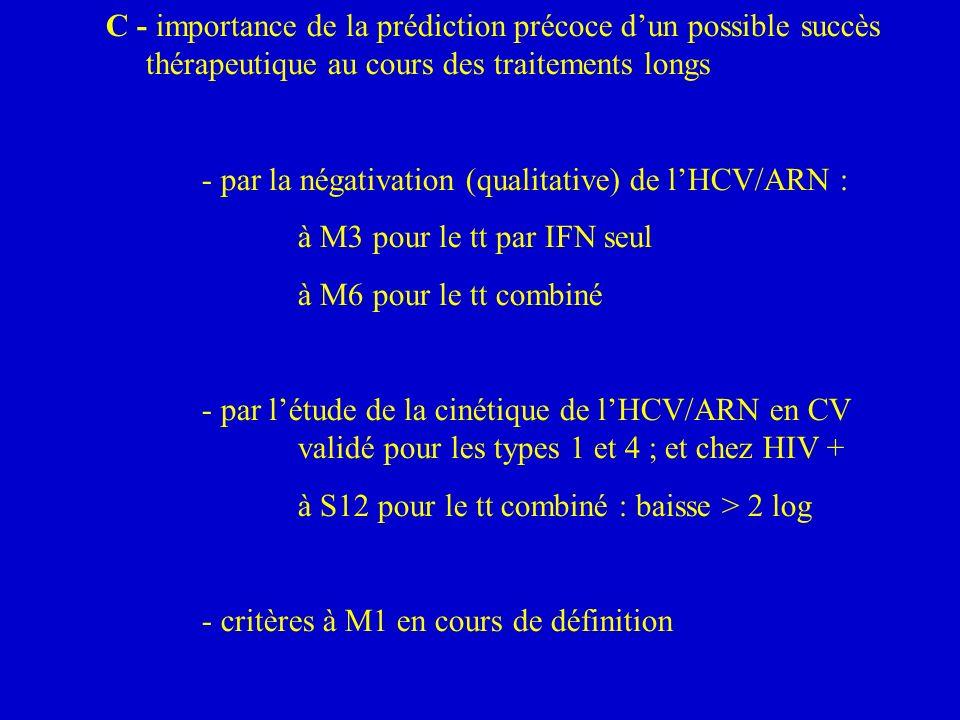 C - importance de la prédiction précoce dun possible succès thérapeutique au cours des traitements longs - par la négativation (qualitative) de lHCV/ARN : à M3 pour le tt par IFN seul à M6 pour le tt combiné - par létude de la cinétique de lHCV/ARN en CV validé pour les types 1 et 4 ; et chez HIV + à S12 pour le tt combiné : baisse > 2 log - critères à M1 en cours de définition