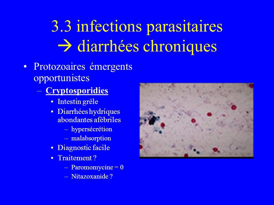 3.3 infections parasitaires diarrhées chroniques Protozoaires émergents opportunistes –Cryptosporidies Intestin grêle Diarrhées hydriques abondantes a