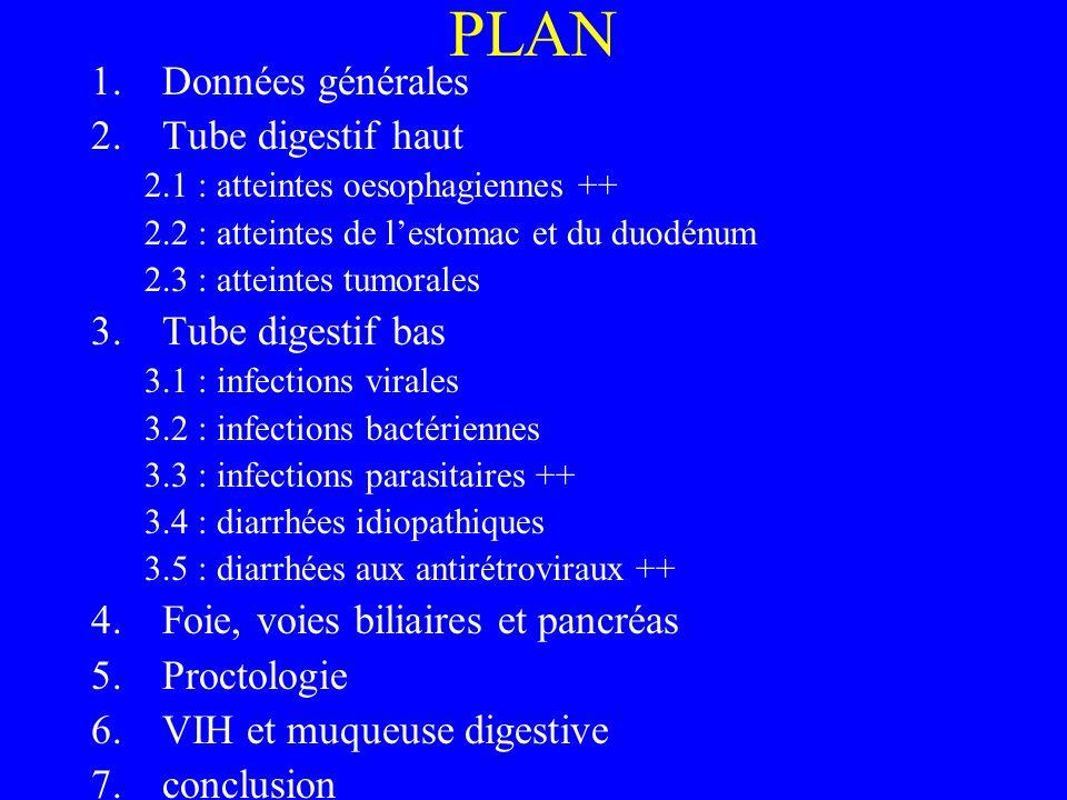PLAN 1.Données générales 2.Tube digestif haut 2.1 : atteintes oesophagiennes ++ 2.2 : atteintes de lestomac et du duodénum 2.3 : atteintes tumorales 3