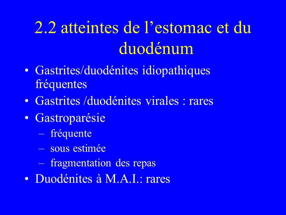 2.2 atteintes de lestomac et du duodénum Gastrites/duodénites idiopathiques fréquentes Gastrites /duodénites virales : rares Gastroparésie – fréquente