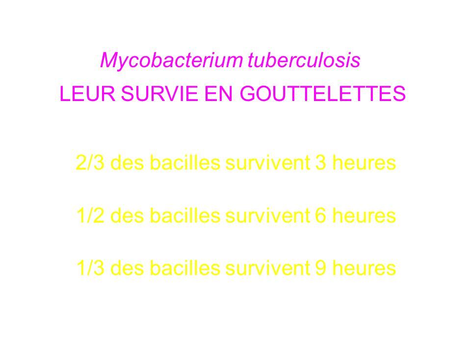 Mycobacterium tuberculosis LEUR SURVIE EN GOUTTELETTES 2/3 des bacilles survivent 3 heures 1/2 des bacilles survivent 6 heures 1/3 des bacilles survivent 9 heures