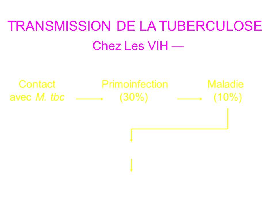 TRANSMISSION DE LA TUBERCULOSE Contact avec M. tbc Primoinfection (30%) Maladie (10%) Environ 20 primoinfections Nouveaux contacts Chez Les VIH 2 cas