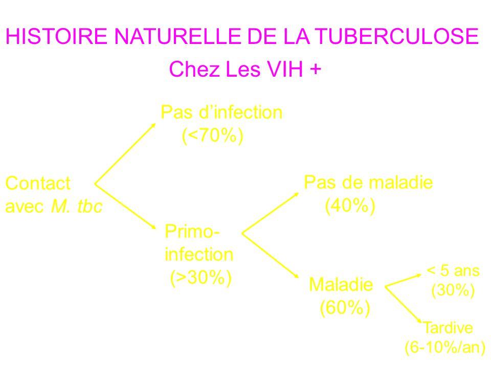 Contact avec M. tbc HISTOIRE NATURELLE DE LA TUBERCULOSE Pas dinfection (<70%) Primo- infection (>30%) Pas de maladie (40%) Maladie (60%) Défenses cel