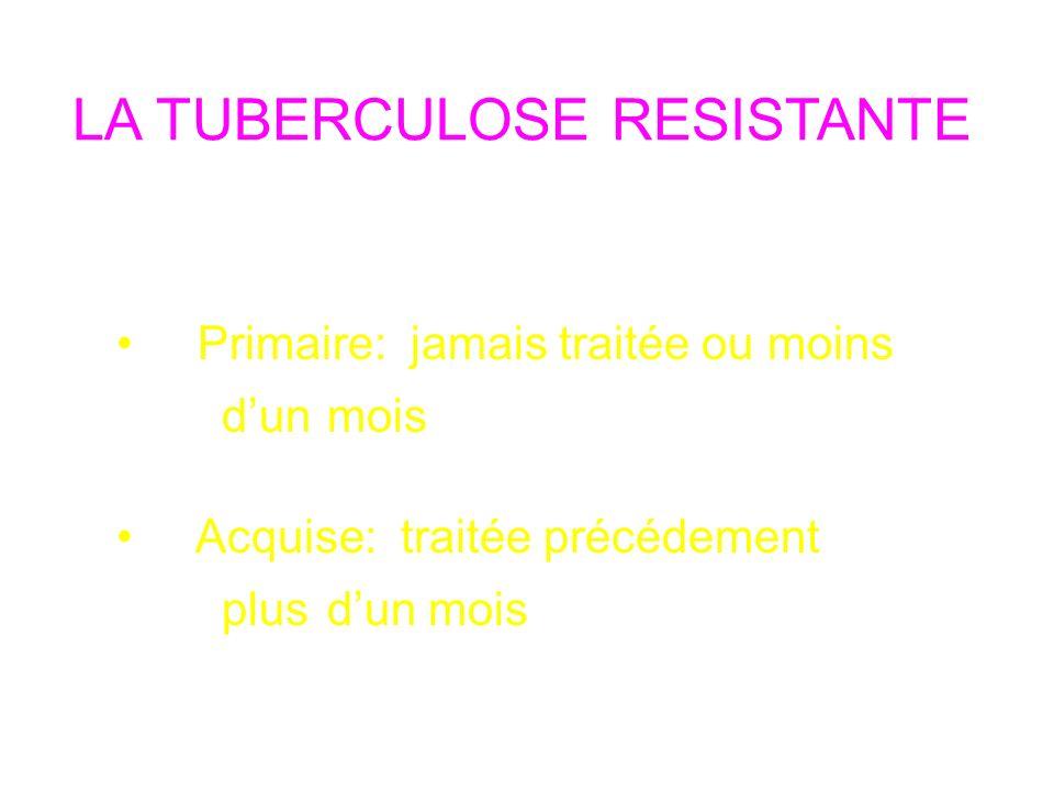 LA TUBERCULOSE RESISTANTE Deux Types Primaire: jamais traitée ou moins dunmois Acquise: traitée précédement plus dun mois