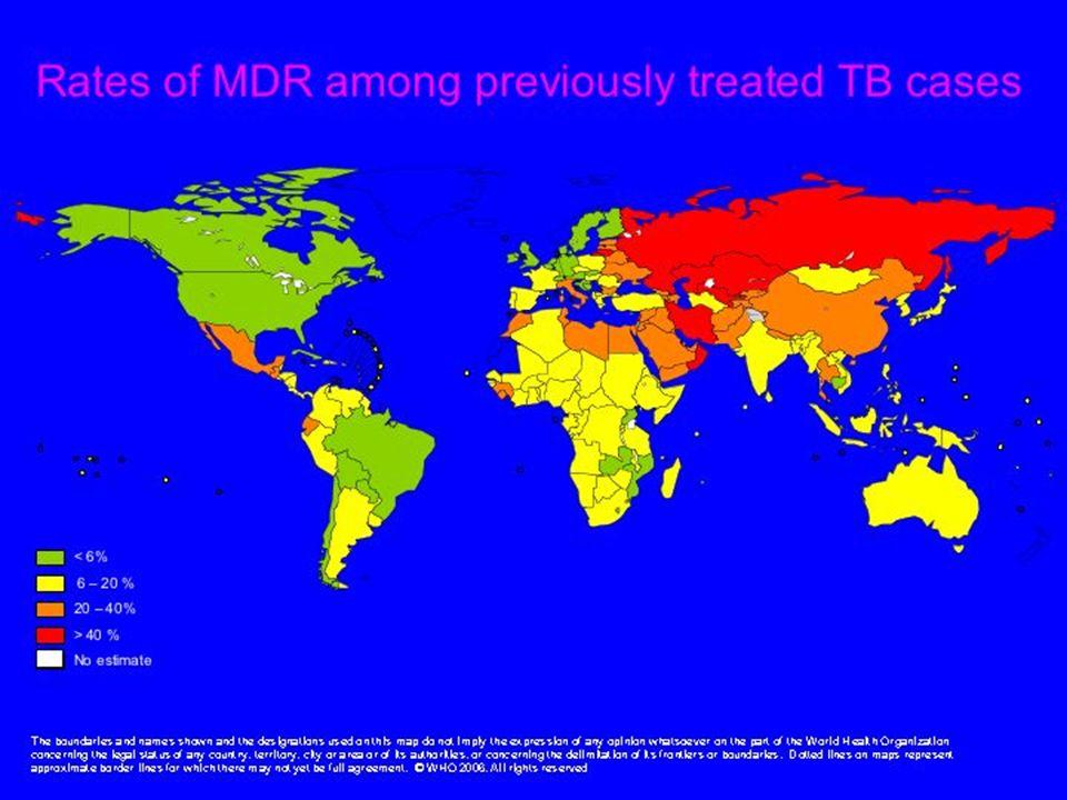 PREVALENCE DE LA TUBERCULOSE MULTIRESISTANTE Pays Primaire Acquise Kazakstan14,256,4 Russie (Tomsk)13,743,6 Uzbekistan13,240,2 Estonie12,245,3 Chine (Lianoning)10,424,4 WHO/HTM/TB 2004.343