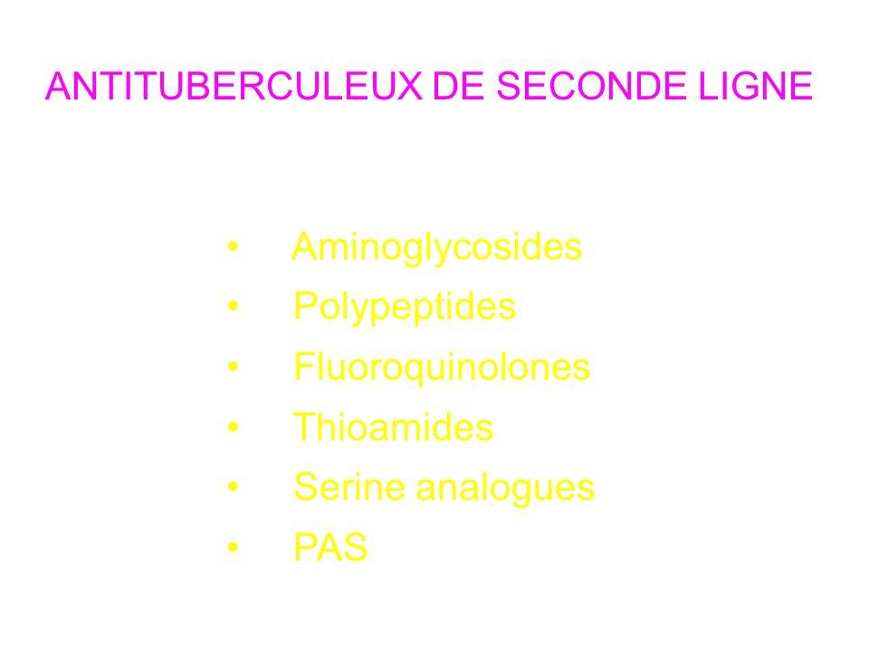 ANTITUBERCULEUX DE SECONDE LIGNE Classes Aminoglycosides Polypeptides Fluoroquinolones Thioamides Serine analogues PAS