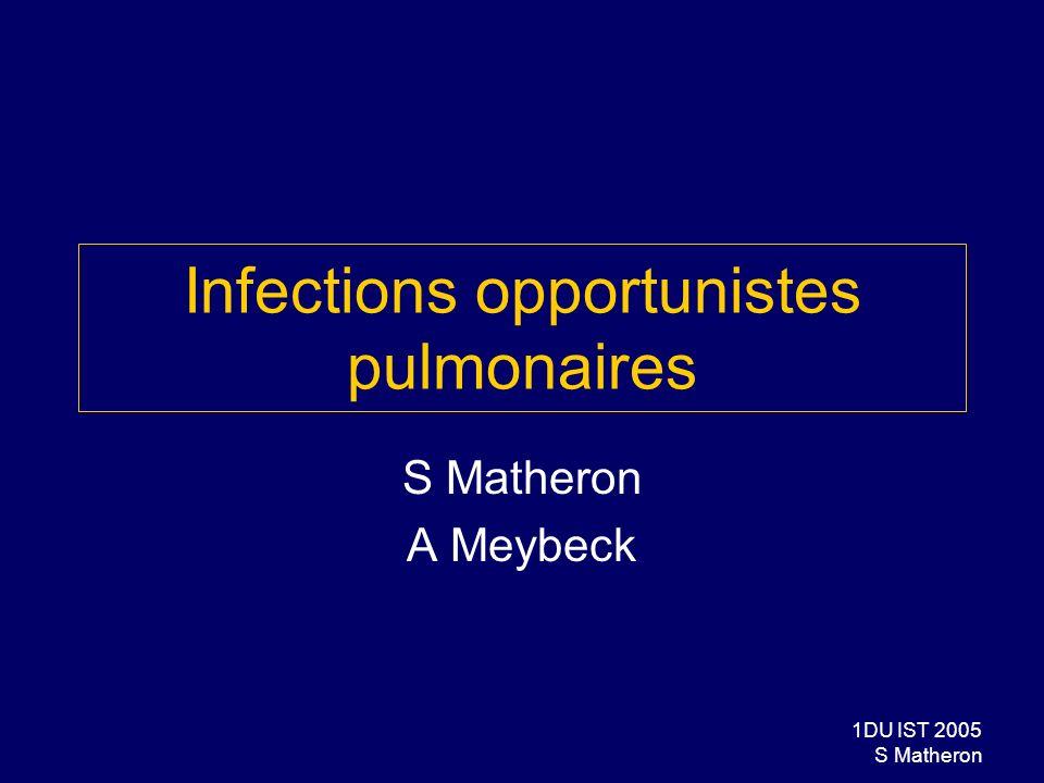 2DU IST 2005 S Matheron Diagnostic et prise en charge des IO Objectif général Reconnaître et traiter les infections opportunistes au cours de linfection à VIH Objectifs spécifiques Connaître les critères diagnostiques cliniques et paracliniques des principales infections opportunistes Connaître leur traitement Curatif préventif