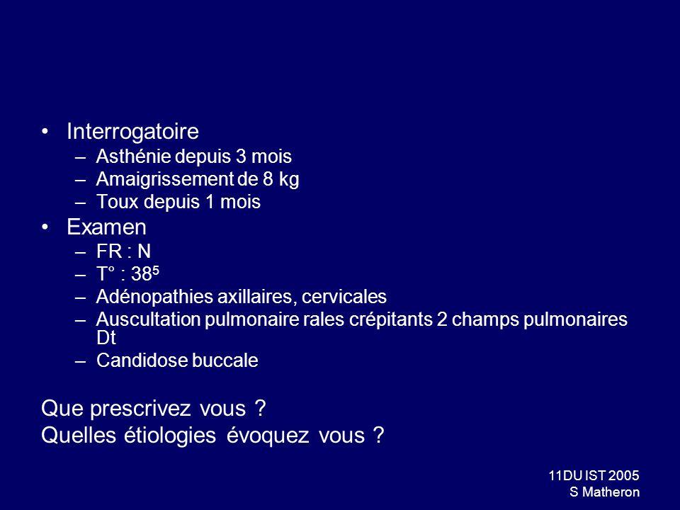 11DU IST 2005 S Matheron Interrogatoire –Asthénie depuis 3 mois –Amaigrissement de 8 kg –Toux depuis 1 mois Examen –FR : N –T° : 38 5 –Adénopathies ax