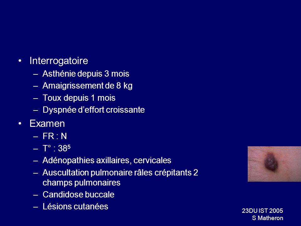 23DU IST 2005 S Matheron Interrogatoire –Asthénie depuis 3 mois –Amaigrissement de 8 kg –Toux depuis 1 mois –Dyspnée deffort croissante Examen –FR : N