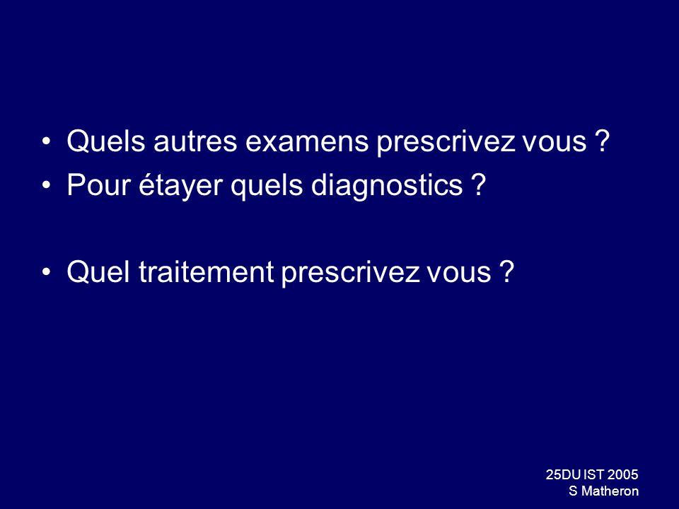25DU IST 2005 S Matheron Quels autres examens prescrivez vous ? Pour étayer quels diagnostics ? Quel traitement prescrivez vous ?
