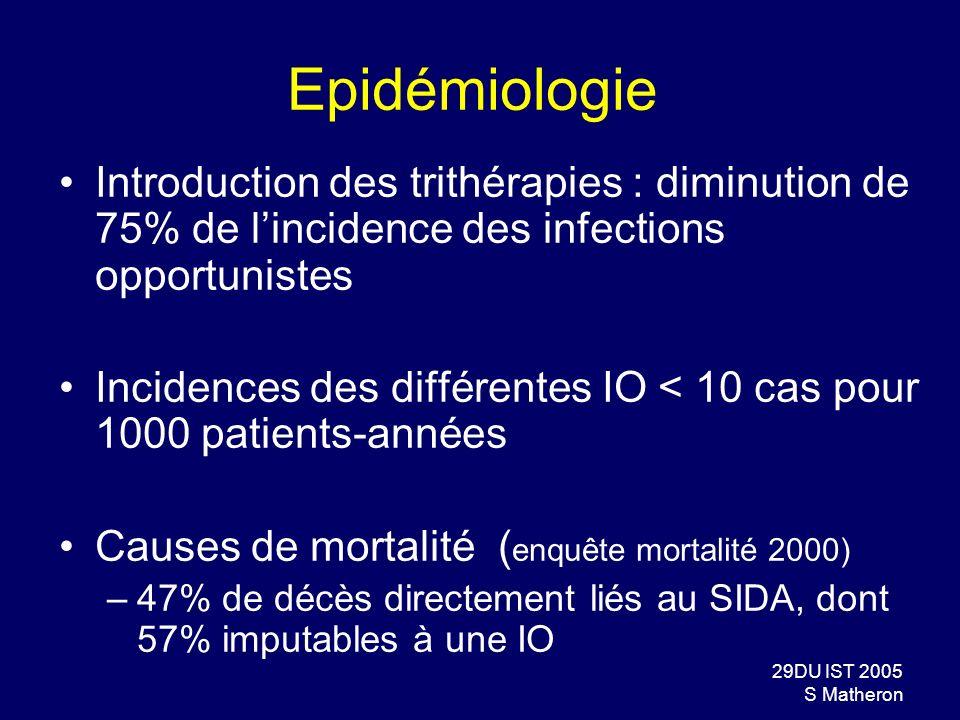 29DU IST 2005 S Matheron Epidémiologie Introduction des trithérapies : diminution de 75% de lincidence des infections opportunistes Incidences des dif