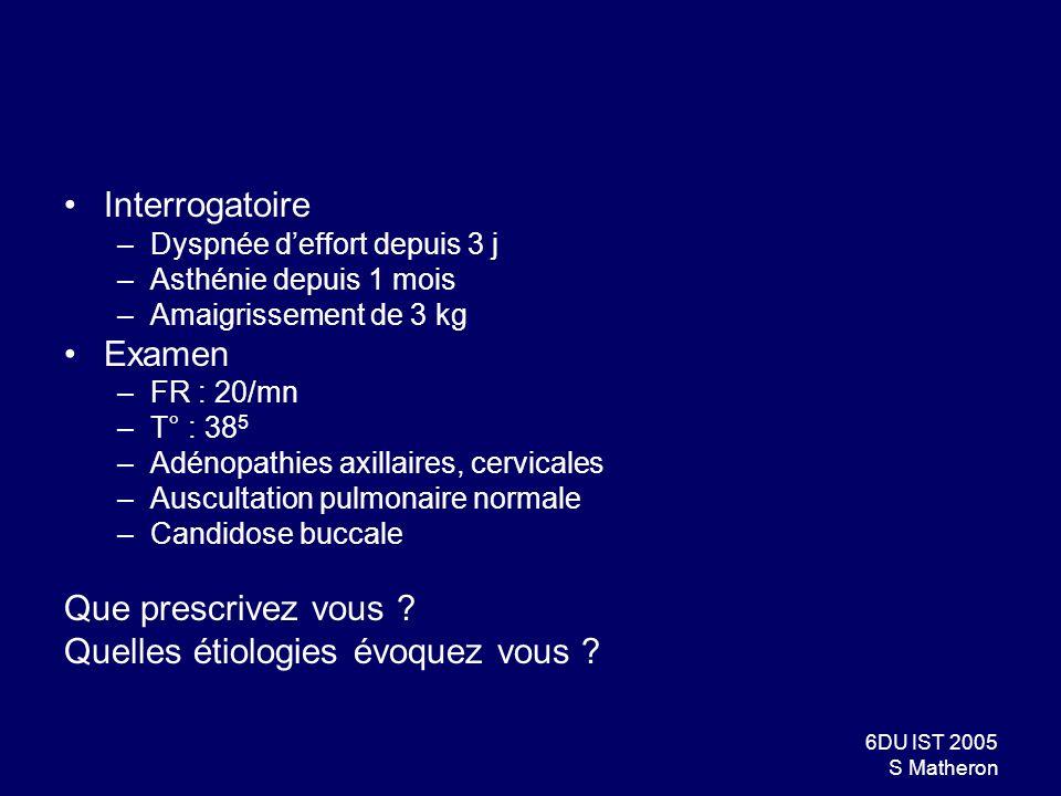 6DU IST 2005 S Matheron Interrogatoire –Dyspnée deffort depuis 3 j –Asthénie depuis 1 mois –Amaigrissement de 3 kg Examen –FR : 20/mn –T° : 38 5 –Adén