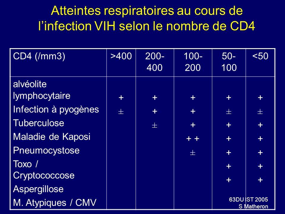 63DU IST 2005 S Matheron Atteintes respiratoires au cours de linfection VIH selon le nombre de CD4 CD4 (/mm3)>400200- 400 100- 200 50- 100 <50 alvéoli