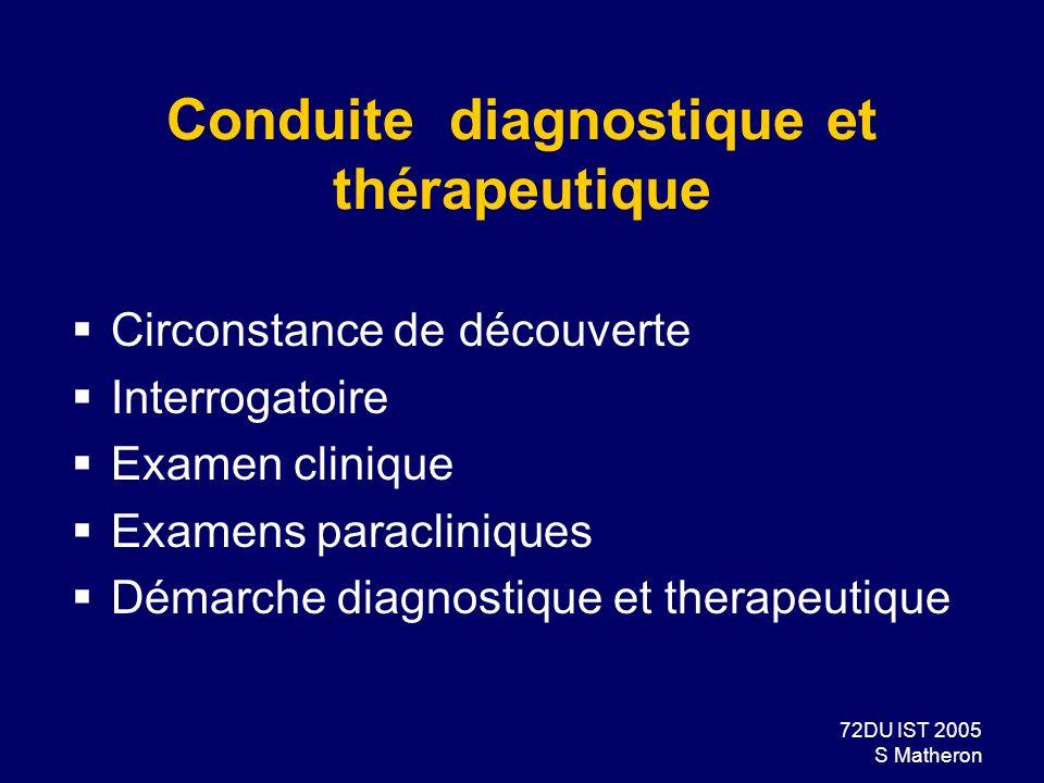 72DU IST 2005 S Matheron Conduite diagnostique et thérapeutique Circonstance de découverte Interrogatoire Examen clinique Examens paracliniques Démarc