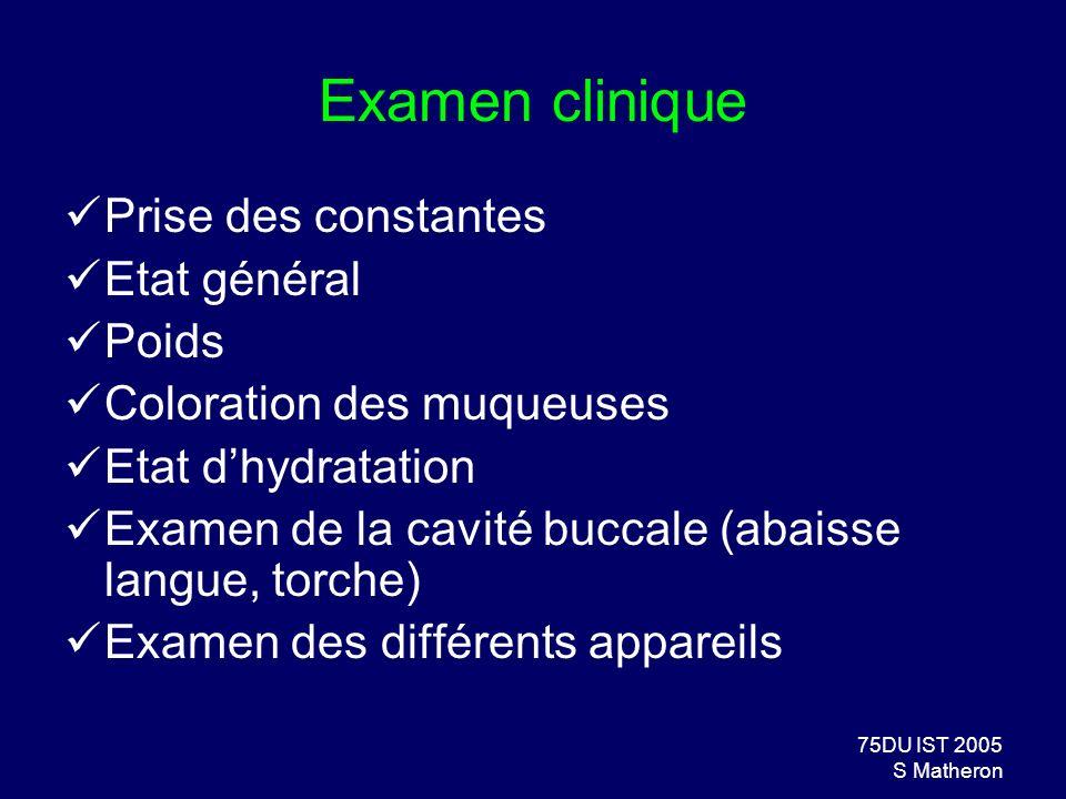 75DU IST 2005 S Matheron Examen clinique Prise des constantes Etat général Poids Coloration des muqueuses Etat dhydratation Examen de la cavité buccal