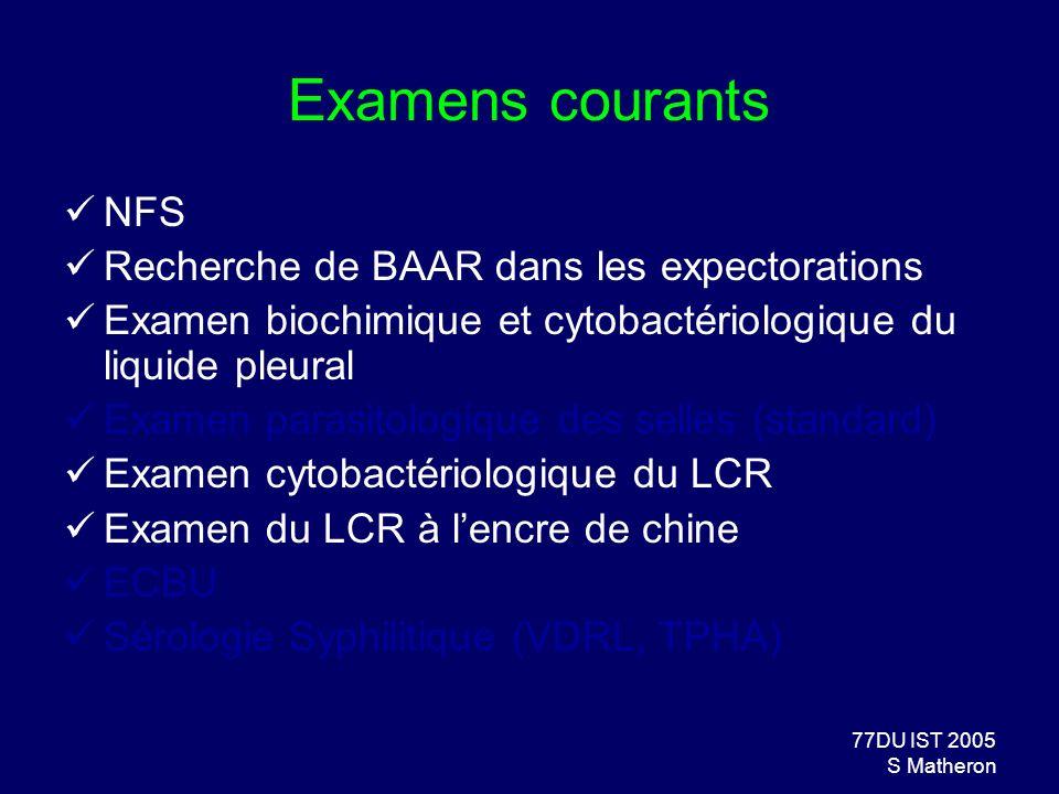 77DU IST 2005 S Matheron Examens courants NFS Recherche de BAAR dans les expectorations Examen biochimique et cytobactériologique du liquide pleural E