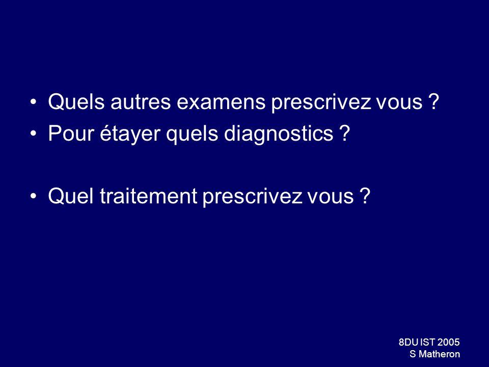39DU IST 2005 S Matheron Tuberculose Formes pulmonaires : –CD4 > 200/mm3: présentation identique à celle observée chez les patients VIH – –Signes cliniques non spécifiques (toux, dyspnée, douleurs) –Tous les aspects radiologiques sont décrits : Infiltrats, foyers alvéolaires, miliaire, caverne, Rx normale –Pleurésies tuberculeuses : Pas + fréquentes, mais + souvent bilatérales Formes extra-pulmonaires : ganglionnaires, méningites, ostéoarticulaires, génito-urinaires,…
