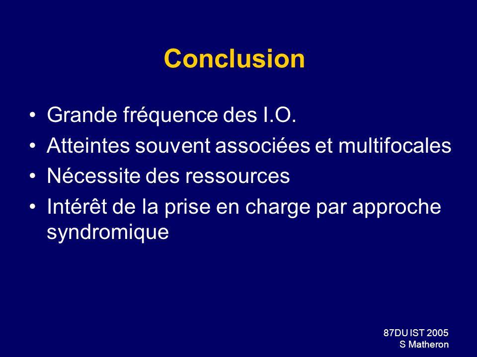 87DU IST 2005 S Matheron Conclusion Grande fréquence des I.O. Atteintes souvent associées et multifocales Nécessite des ressources Intérêt de la prise