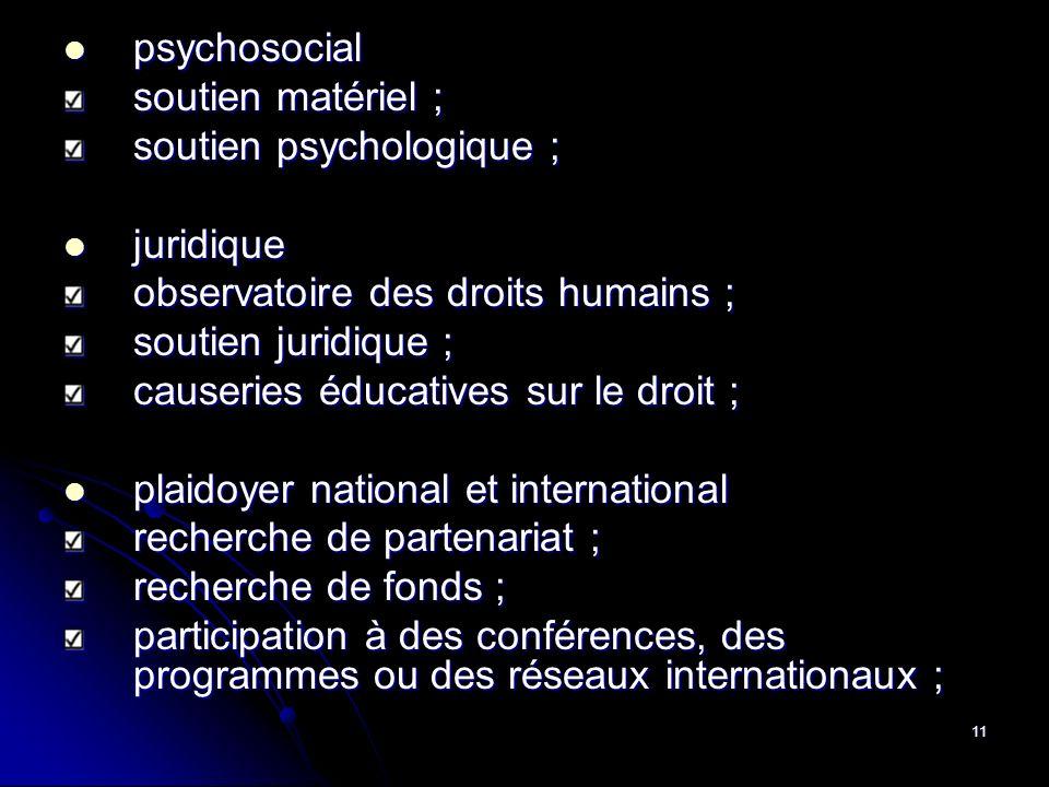 11 psychosocial psychosocial soutien matériel ; soutien psychologique ; juridique juridique observatoire des droits humains ; soutien juridique ; caus