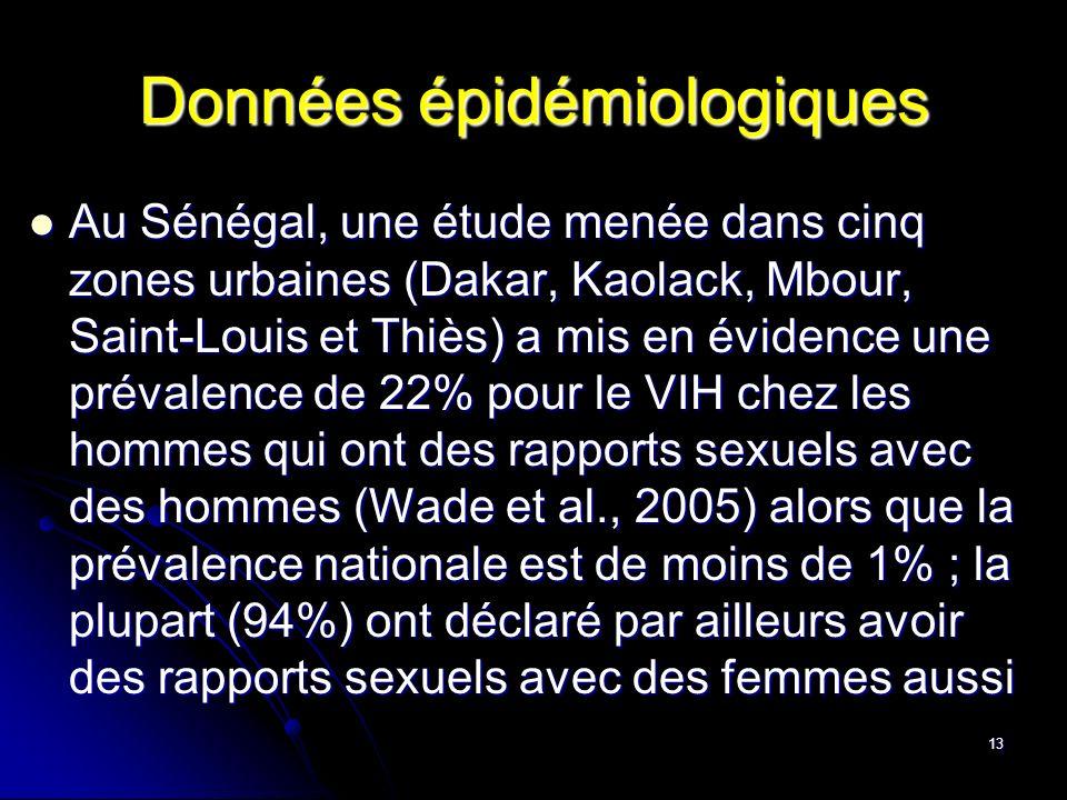 13 Données épidémiologiques Au Sénégal, une étude menée dans cinq zones urbaines (Dakar, Kaolack, Mbour, Saint-Louis et Thiès) a mis en évidence une p