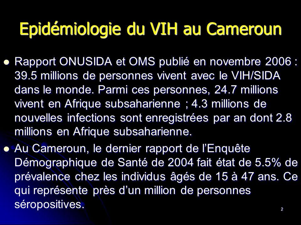 3 La prise en charge du VIH au Cameroun plan national de lutte contre le SIDA pour les années 2000-2005, puis pour les années 2006- 2010.