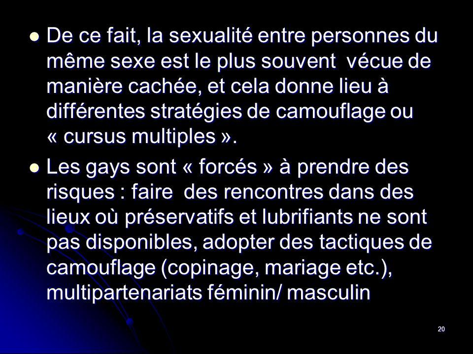 20 De ce fait, la sexualité entre personnes du même sexe est le plus souvent vécue de manière cachée, et cela donne lieu à différentes stratégies de c