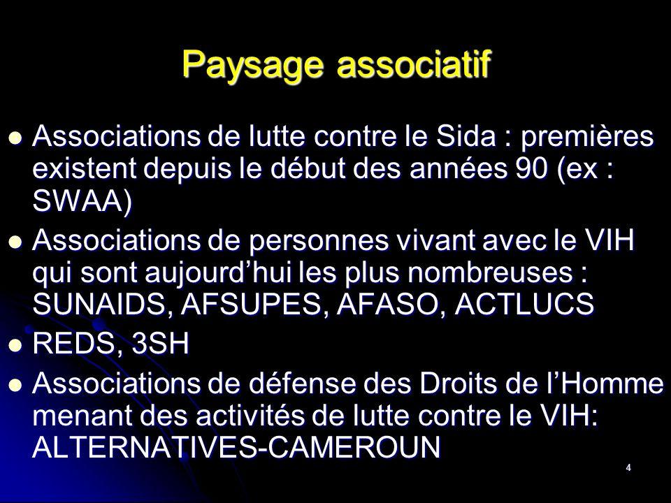 4 Paysage associatif Associations de lutte contre le Sida : premières existent depuis le début des années 90 (ex : SWAA) Associations de lutte contre